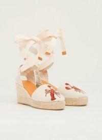 L.K. BENNETT SHANNON SAND CANVAS ESPADRILLES / lobster embroidered espadrille wedges / ankle tie wedge heels
