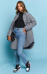 BEGINNING BOUTIQUE Shantelle Long Jacket Gingham ~ womens longline shackets ~ women's curved hem jackets ~ checked outerwear