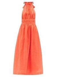 ZIMMERMANN Shelly orange halterneck linen midi dress ~ bright summer halter dresses