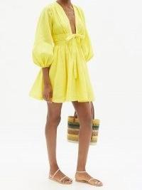 ZIMMERMANN Shelly yellow plunge-neckline linen mini dress ~ linen balloon sleeve flared hem summer dresses