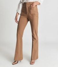 REISS SIAN HIGH RISE SKINNY FLARED TROUSERS CAMEL ~ womens brown retro flares ~ women's 70s style vintage high waist flare hem pants