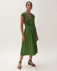 JIGSAW SILK FRONT RUCHED WAIST DRESS / womens green jersey dresses