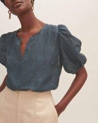 JIGSAW SILK LINEN CHECKED TOP ~ blue puff sleeve tops