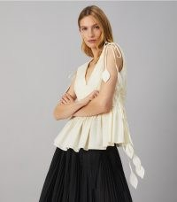 Tory Burch SLEEVELESS TIE TOP NEW IVORY   feminine cotton summer tops