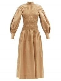 GANNI Smocked-bodice organic cotton-blend midi dress in beige – balloon sleeve high neck dresses