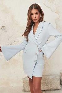 LAVISH ALICE statement button bow back blazer dress in baby blue ~ womens glamorous evening jacket style dresses ~ asymmetric party fashion