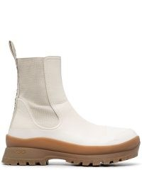 Stella McCartney Trace logo-print boots in cream / beige ~ womens faux leather chelsea style ankle boot