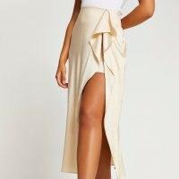 River Island Stone animal print front slip skirt | thigh high split skirts