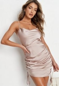 MISSGUIDED stone satin cowl neck ruched mini dress ~ side gathered cami dresses ~ womens going out fashion