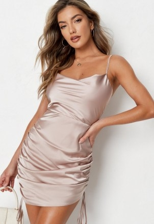 MISSGUIDED stone satin cowl neck ruched mini dress ~ side gathered cami dresses ~ womens going out fashion - flipped