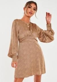 MISSGUIDED stone satin dalmatian print keyhole back skater dress