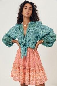 SPELL DESIGNS SUNDOWN MINI SKIRT Apricot | womens floral organic cotton skirts | boho summer fashion
