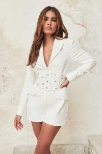 LAVISH ALICE tailored playsuit with corset belt in white / belted floral detail evening playsuits