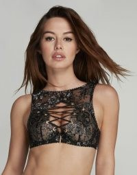 AGENT PROVOCATEUR Taisia High Neck Underwired Bra ~ glamorous lingerie ~ lace up front bras