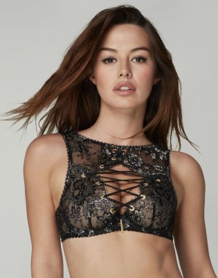 AGENT PROVOCATEUR Taisia High Neck Underwired Bra ~ glamorous lingerie ~ lace up front bras - flipped