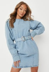 Missguided tall blue belted denim mini dress | women's casual on trend day dresses