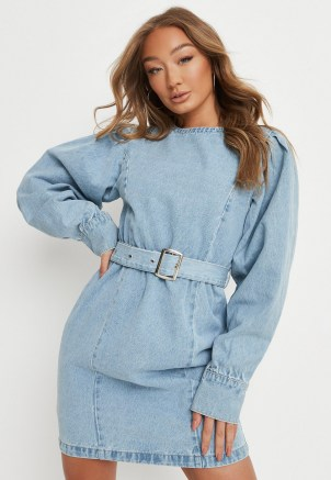 Missguided tall blue belted denim mini dress   women's casual on trend day dresses - flipped