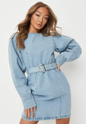 Missguided tall blue belted denim mini dress   women's casual on trend day dresses