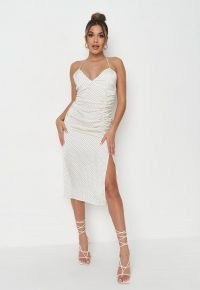 Missguided tall cream polka dot satin ruched midi dress | thigh high split going out dresses | slit hem | womens party fashion | strappy evening clothing