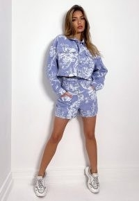 MISSGUIDED tall purple co ord plate print cropped denim jacket ~ casual crop hem jackets ~ on trend outerwear