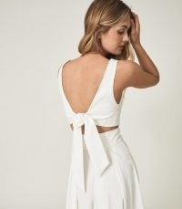 REISS TAMMI CROP TOP WITH BOW DETAIL WHITE ~ deep plunge front summer tops