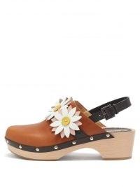 FABRIZIO VITI Carly floral-appliqué leather slingback clogs   womens tan retro clog mules   women's cute vintage style footwear