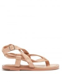 JIL SANDER Crossover-strap leather sandals / luxe strappy summer flats