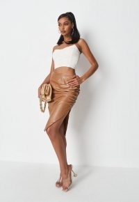 MISSGUIDED tan faux leather side split ruched mini skirt ~ brown side gathered skirts