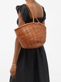 DRAGON DIFFUSION Jane Birkin large tan woven-leather basket bag / light brown baskets / braided top handle / weave design summer bags / womens chic holiday accessories