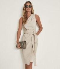 REISS TAYLA ONE SHOULDER MIDI DRESS BEIGE / chic asymmetric summer dresses / women's occasion wear