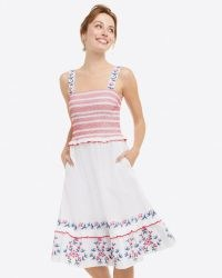 Draper James Taylor Smocked Dress in Embroidered Camellia | floral fitted bodice summer dresses