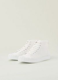 L.K. BENNETT TAYLOR WHITE RECYCLED COTTON HIGH TOP TRAINERS ~ women's retro hi tops ~ classic style sneakers
