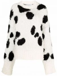 The Attico cow-print knitted jumper | black and white fluffy mohair slouchy sleeve jumpers | monochrome animal print drop shoulder sweater | wowmen's knitwear