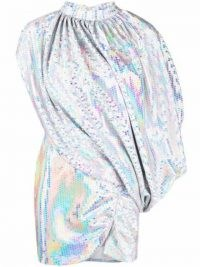 The Attico iridescent sequined draped dress ~ glamorous asymmetric sequinned dresses ~ evening glamour