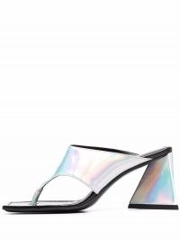 The Attico iridescent-effect thong-strap sandals – chunky heel square toe sandal – silver tone block heels