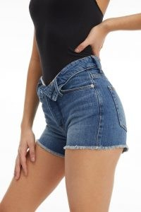 GOOD AMERICAN THE CUT OFF FOLD OVER WAIST | women's frayed hem denim shorts