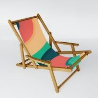DistinctyDesign The river, abstract painting Sling Chair ~ contemporary deck chairs ~ stylish wood frame outdoor seating ~ garden furniture