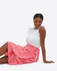 Draper James Tie Waist Skirt in Gingham Seersucker Pink | women's checked wrap style summer skirts