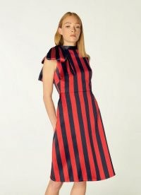 L.K. BENNETT TIGGY NAVY AND RED STRIPE BOW NECK DRESS ~ sleeveless A-line occasion dresses