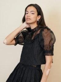 sister jane Wild Card Bib Blouse – black semi sheer puff sleeve blouses