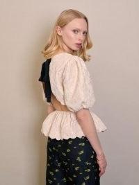 sister jane DREAM Sweet Serve Jacquard Top | romantic puff sleeve peplum tops | vintage style open back blouse | womens romantic fashion