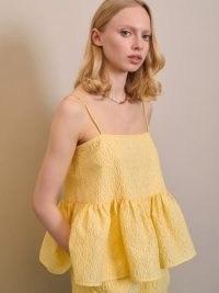 sister jane DREAM Deuce Floral Cami Top Yellow Iris | strappy peplum hem camisole | romantic strappy tops