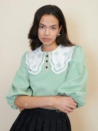 sister jane STRAWBERRY COURT Tournament Collar Cropped Blouse Zephyr Green