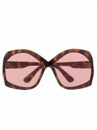 TOM FORD Eyewear oversize-frame sunglasses with pink tinted lenses   women's vintage style sunnies   oversized retro eyewear   summer accessories