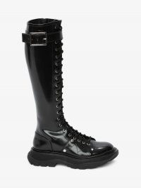 ALEXANDER MCQUEEN Tread Lace Up Boot / womens shiny leather knee high boot