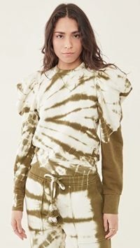 Ulla Johnson Harlan Pullover Sweatshirt Olive Tie Dye / women's structured puff sleeve sweatshirts