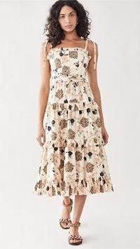 Ulla Johnson Lune Dress / floral tie shoulder strap dresses / tiered