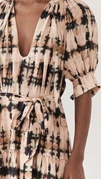Ulla Johnson Selena Coverup Dress in Desert Palm Tie Dye / puff sleeve tie waist dresses