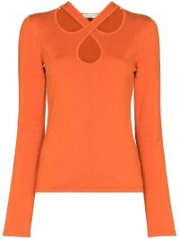USISI SISTER Kirstie orange cut-out jumper | women's bright jumpers
