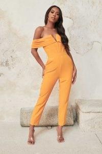 LAVISH ALICE v front bardot jumpsuit in orange / bright off the shoulder jumpsuits